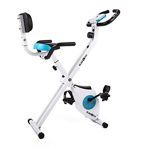 Klarfit Azura - Bicicleta Fija, Bici estática, Ordenador de entrenamiento, Medidor de pulso, 8 niveles de resistencia, Volante de inercia 3 kg, Máx. 100 kg, Respaldo, Reposabrazos, Blanco a buen precio