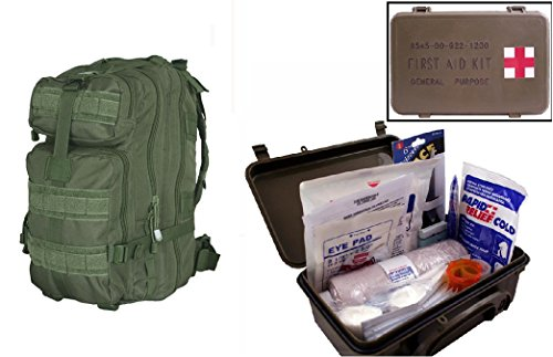 Ultimate Arms Gear Level 3 Assault Molle Od Olive Drab Green Backpack Kit   First Aid Trauma Kit General Purpose In Waterproof Carrying Storage Case  Usa Made  Fully Stocked 58 Piece Kit