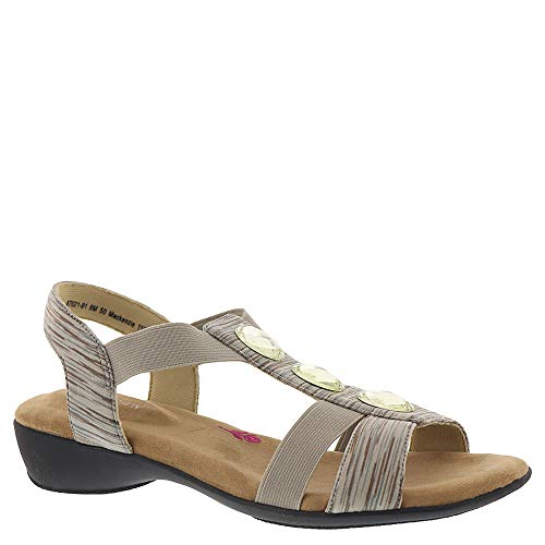 Ros Hommerson Mackenzie 67021 Women's Casual Sandal: Taupe Multi/Stretch 9 Wide (D) Slip-On