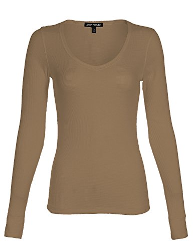 Luna Flower Women's Deep Round V-Neck Thermal Long Sleeve Knit Slim Fit Basic Top Shirts Mocha (Mocha Satin A-line)