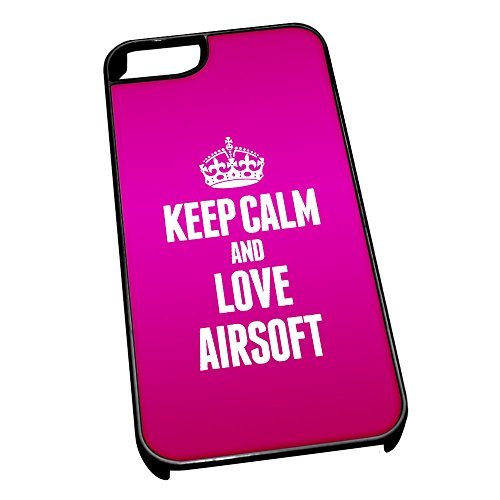 Nero cover per iPhone 5/5S 1681 Pink Keep Calm and Love Airsoft