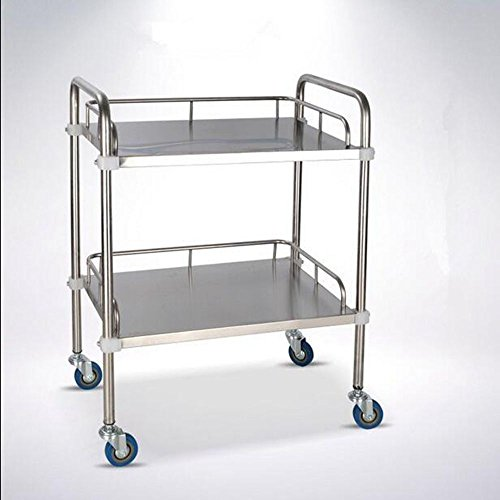 Stainless Steel Mobile Assembly Instrument Cart corrosion resistant All-Purpose Utility 2 Layer ()