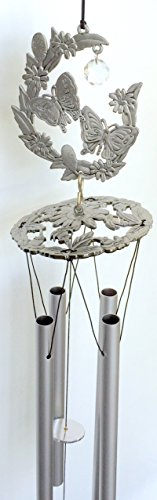 Butterfly Pewter Like Garden Wind Chime Mobile Decor with Acrylic Crystal