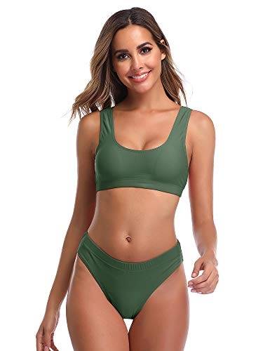 Summer Mae Woman's Two Pieces Bikini Sets Sports Swimsuit Low Top High Waisted High Bottom Army Green
