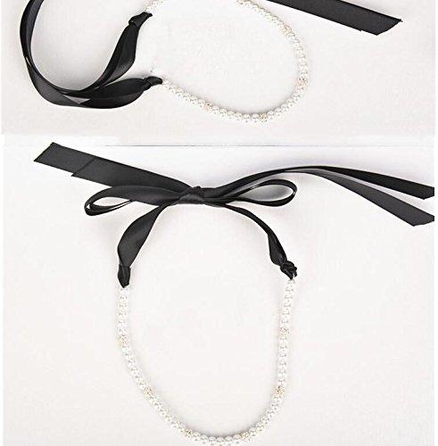 DUlijun Plomo en joyería de la perla incrustada accesorios para el cabello hechos a mano para perforar el flotador de bola led , black ribbon: Amazon.es: ...