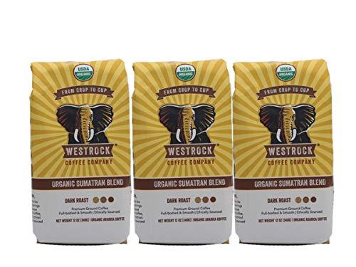(Westrock Coffee Company Organic Certified Sumatran Blend, Dark Roast, 12-Ounce Ground, 3-Pack)