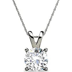 PARIKHS Round Diamond Pendant Popular Quality, White-Yellow-Rose Gold (IGI Certified-0.70 ct & up)