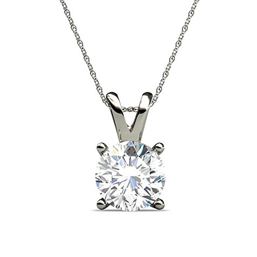 PARIKHS Round Diamond Solitaire Pendant Plus Quality in White Gold (0.04 ctw) (0.04 Diamond Ct Fashion)