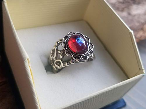 Fire Opal Ring Dragon's Breath (Glass Cabochon) flower Ring, Filigree, Renaissance Jewelry, Victorian Jewelry, Red Mexican Fire Opal, Gothic Style Ring, Platinum silverware silver plated over brass