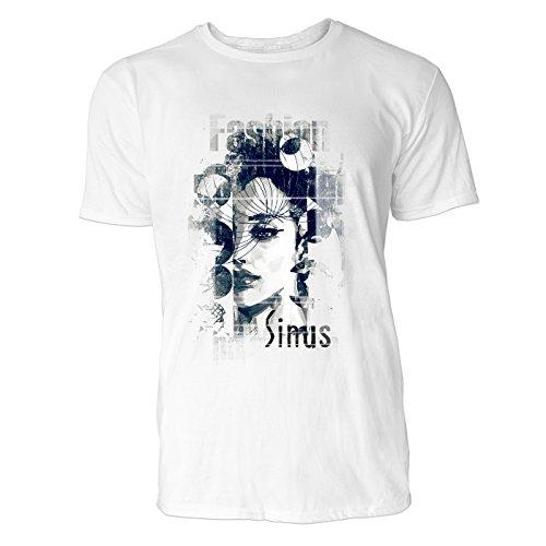 SINUS ART® No Gender Fashion mit Frauengesicht Herren T-Shirts in Weiss Fun Shirt mit tollen Aufdruck