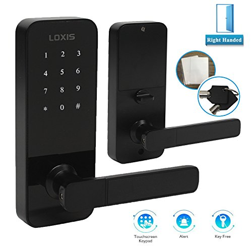 Electronic Digital Keyless Smart Entry Access Door Lock Deadbolt, Right Handed Touchscreen Lever with Auto Lock,Unlock with Miafare Card, Code or Key,Black