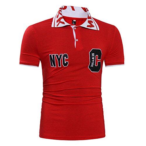 (レッド 半袖 L) FleurUneffe(フルールアンフェ) メンズ Tシャツ 半袖 ポロシャツ ゴルフウェア かっこいい おしゃれ カジュアル スポーツ ゴルフ 赤 グレー レッド M L XL FU-6840