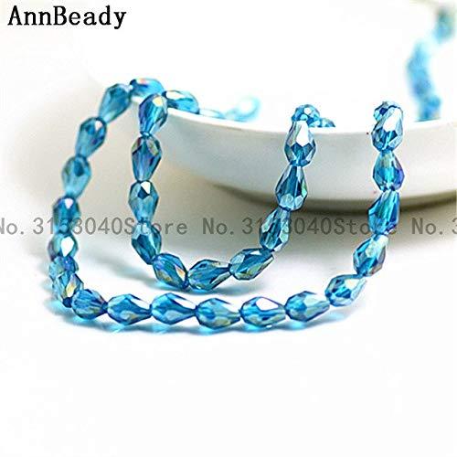 Calvas 70pcs Coffee ab Color 57mm Teardrop Crystal Glass Beads Loose Spacer Beads DIY Making Jewelry Waterdrop Austria Crystal Beads - (Color: Peacock Blue ()