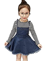 SUPEYA Kid Baby Girls Stripe Long Sleeve Tops Suspender Braces Denim Skirt Outfits