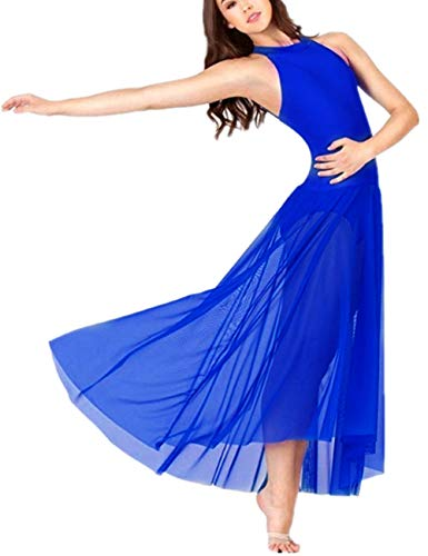 (FEESHOW Lyrical Women Adult Mock Neck High-Low Dance Dress Ballet Leotard Flowy Split Skirt Blue Small)