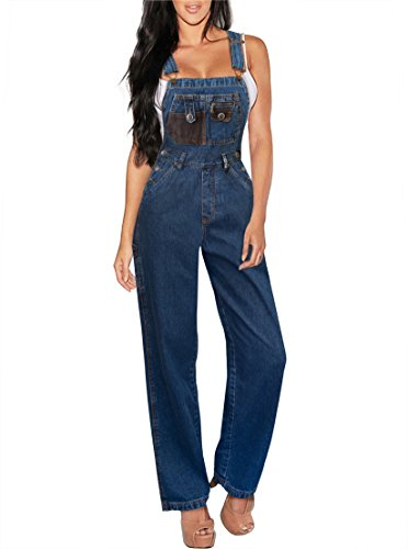 Spandex Stretch Bib - HyBrid & Company Womens Stretch Denim Overalls PVJ6009 Dark WASH M