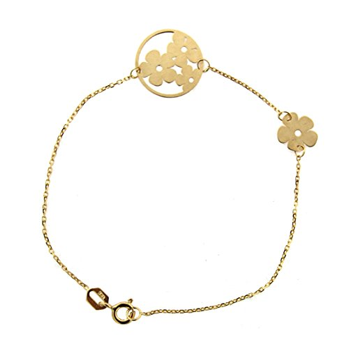 18k Yellow Gold Open Circle with Flowers follow by a single Flower Bracelet 7 inches by Amalia