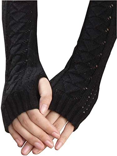 Mini gloves 冬の秋の暖かいアウト中空手袋キーボードリークフィンガーニット手袋 (Color : BK)