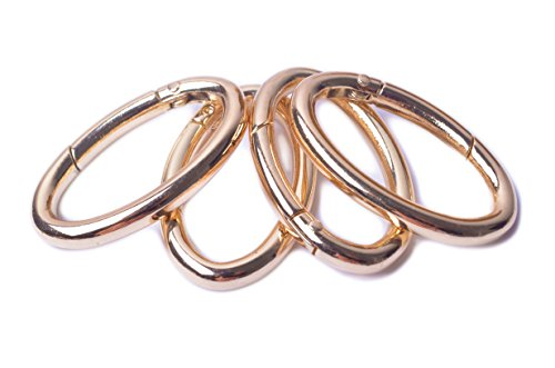 Bobeey 4pcs 37x19mm Spring Oval Rings,Gold Oval Carabiner Snap Clip Trigger Spring Keyring Buckle,Oval ring for bags,purses BBC8 (Gold) …