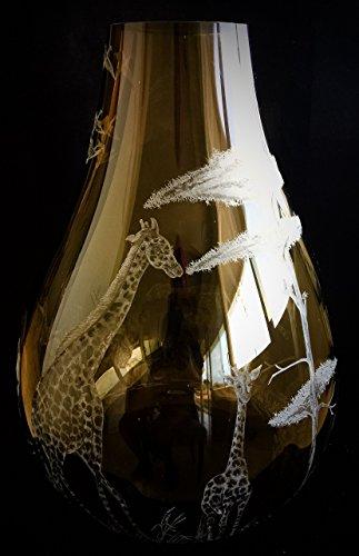 (Hand Engraved tall Safari vase, Engraved Vase, Home Decor, Amber Vase, Giraffe, Lion, Elephant and Cheetah)