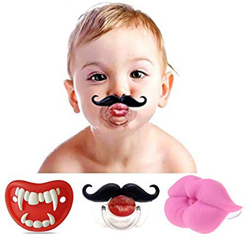 3Pcs Cute Kissable Mustache Pacifier for Babies and Toddlers Unisex Baby Lips Pacifier - BPA Free Latex Free Made with Silicone Creative Personalized ...