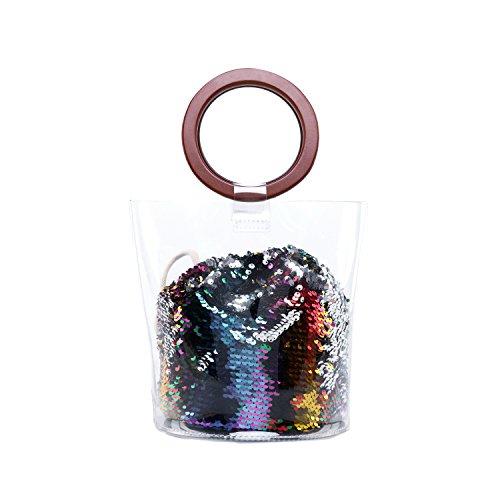 Lam Gallery Womens PVC Plastic Clear Purses for Work Stadium Concert Transparent Handbags Drawstring Bucket Bags-Bling Sequin Multicolor