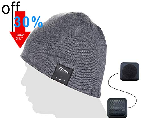 Bluetooth Music Beanie Cap, Coeuspow Wireless 4.1 Stereo Music Earphones Hat with CVC 6.0 Noise Cancelling,Built-in Mic Hand Free and Rechargeable Battery for All Cell Phones,Ipad,PDA-Grey from coeuspow