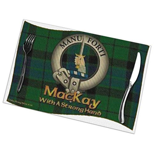 Bizwheo MacKay Clan Non-Slip Plate Cup Coaster Cushion Placemat 12 x18 Inch 6PCS ()