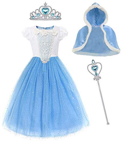 Snow White Halloween Fancy Dress (MYZLS Cinderella Princess Dress Girls Snow White Fancy Party Costume Halloween Dress Up Outfit Size 140, 6-7)