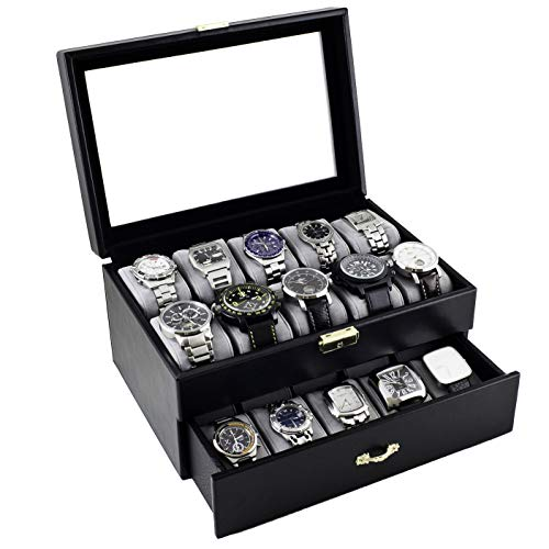 Caddy Bay Collection Black Classic Watch Case Display Box with Clear Glass Top Holds 20 Watches with Microfiber Cleaning Cloth (Case Watch Display Wall)