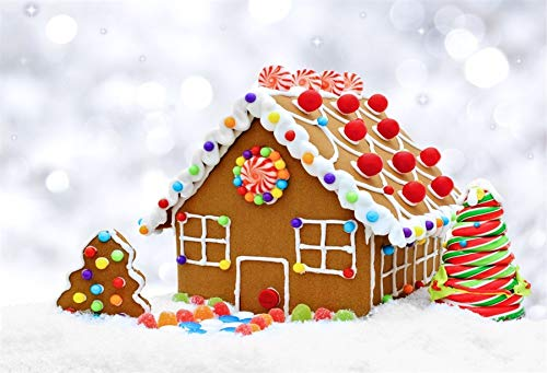 Twinkling Snow - Yeele Backdrops 6x4ft /1.8 X 1.2M Gingerbread House in Snow with Twinkling Silver Light Blurred Snowing Pictures Adult Artistic Portrait Photoshoot Props Photography Background
