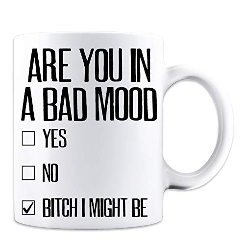 Are You In A Bad Mood Check Box Funny Employee and Moody Person Novelty Mug - White 11 Oz. Coffee Mug - Great Gift for Mom, Dad, Co-Worker, Boss, Friends and Teacher by Mad Ink Fashions ()