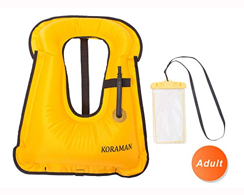 KORAMAN Fast Inflatable Snorkel Vest Compact for Swimming Free Diving Safety-Life Jacket for Adult Child + Waterproof Phone Pouch Yellow Adult