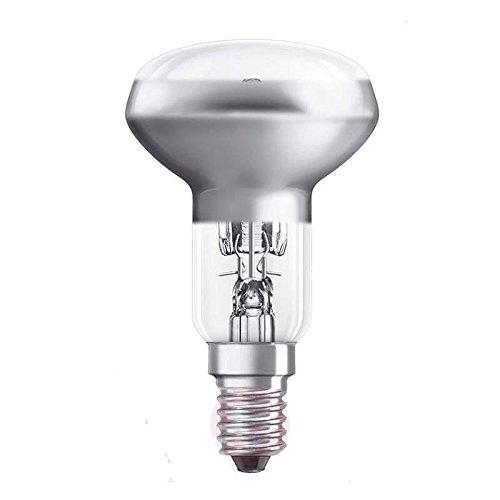 8 Genuine Eveready Energy saving Halogen R50 spot light bulbs. SES (E14) Small Edison Screw Cap fitting. 240v 50Hz for UK and European use.