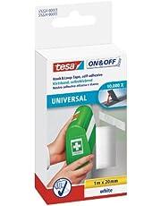 tesa On & Off Klittenband Universal - Plakbare klittenbandtape - Dubbelzijdig om lichte voorwerpen te bevestigen, zonder boren - Wit - Rol van 2 cm x 100 cm