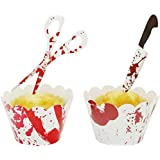 YuBoBo Halloween Cupcake Toppers Wrappers, 24 Pieces Horror Cake Decoration Bloodstain Cake Knife Scissors Food Decor…