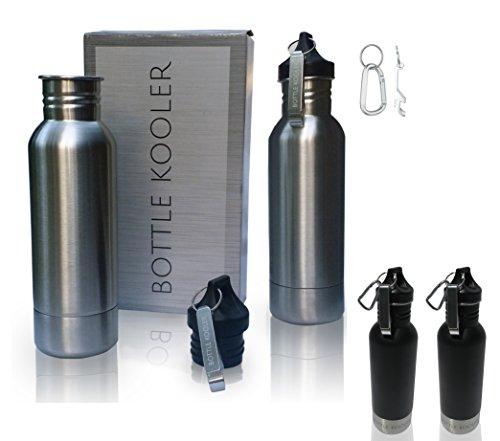 Thermos Stainless Eagles Steel (Bottle Kooler - Stainless Steel Bottle Insulator (Pack of 2) - Keeps Beer Cold Longer - Fits Most 12oz Bottles - with Bottle Opener. & Carabiner. Also in Black)