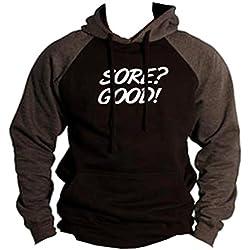 Men's Sore? Good V446 Black/Charcoal Raglan Baseball Hoodie Sweater X-Large Black