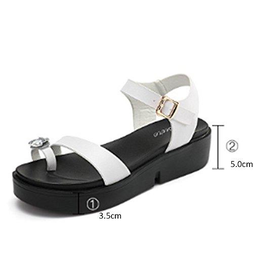 del de los hebilla del diamante Piso estudiantes las sandalias 2 la colores opcionales tamaño de emparedado verano femenino Cómodo salvajes opcional del Aumentado B con Sandalias Sandalias gruesas UHnEfE