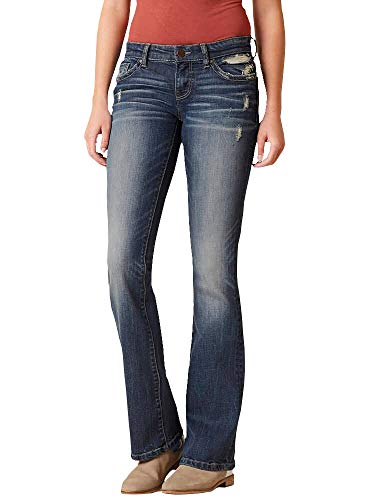 Lynwitkui Womens Basic Bootcut Jeans Low Rise Stretch Slim Fit Straight Legs Denim Pants