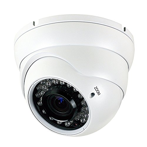 Hykamic Analog CCTV Camera HD 1080P 4-in-1 (TVI/AHD/CVI/CVBS) Security Dome Camera, 2.8mm-12mm Varifocal Lens, True Day & Night Monitoring IP66 (White)