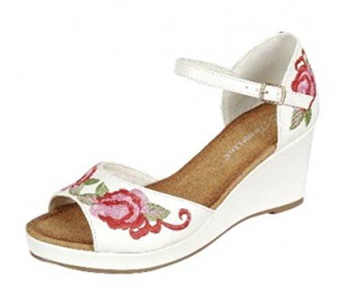 Womens Comfortable Fashion Criss Cross Strappy Open Toe Wedge Sandal Shoes White-a 4IhlTv