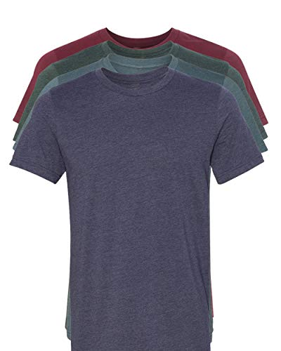 Blend Mens T-shirt - Kennedy Todd 4 Pack Men's Heather Cotton Poly T-Shirt (H Cardinal, H Navy, H Slate, H Forest, Large)