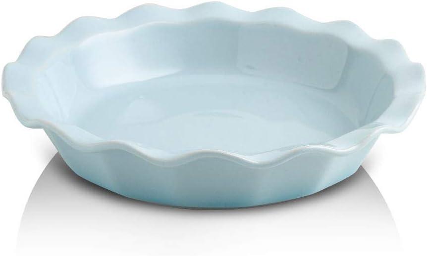 KOOV Ceramic Pie Dish, 9 Inches Pie Pan, Pie Plate for Dessert Kitchen, Round Ceramic Baking Dish Pan for Dinner, Gradient Series (Sky)