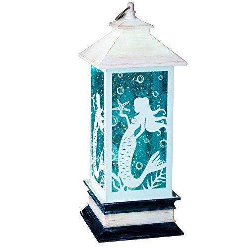 Lighted MERMAID Lantern Table Top Figurine Light Shimmers & Sparkles Battery Op