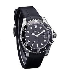 Sapphire Crystal 40mm Parnis Black Dial Ceramic Bezel Japan Miyota Automatic Movement Men's Watch Rubber Strap