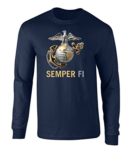 US Marines Semper Fi Eagle Graphic Long Sleeve Officially Licensed T Shirt Navy Large