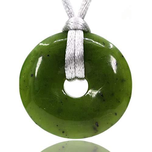 AMANDASTONES Natural Gemstones AA Grade Canadian Nephrite Jade Peace Donut 30M Beads Adjustable Braided Macrame Tassels Pendant Unisex