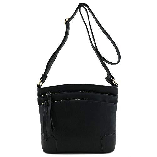 - Triple Zip Pocket Medium Crossbody Bag Black