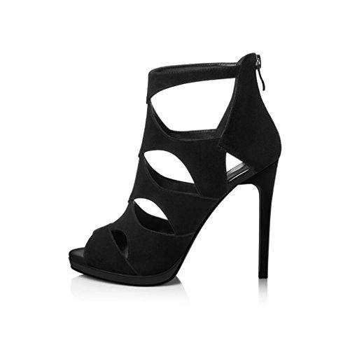 CJC Hollow Heeled Open Fashion Heels Heels Toe Black Thin Shoes Black Women's High Heels High High Sandals dwzECd